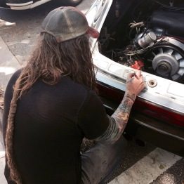 THE Magnus Walker signing one of our cars!